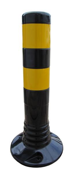 Flexibler Kunststoffpfosten Ø 80 mm - schwarz/gelb