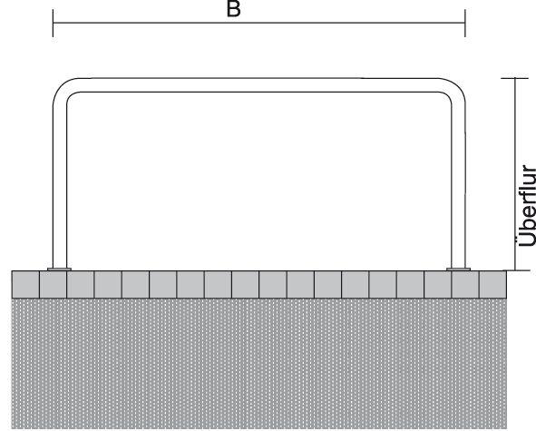 Anlehnbügel Ø 48 mm - Edelstahl - zum Aufdübeln
